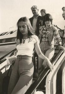 People disembarking from an aircraft in Palma, Mallorca, Spain