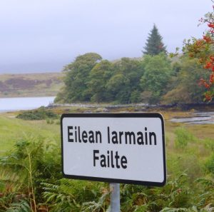 Welcome sign to Eilean Iarmain, Isle of Skye, Scotland