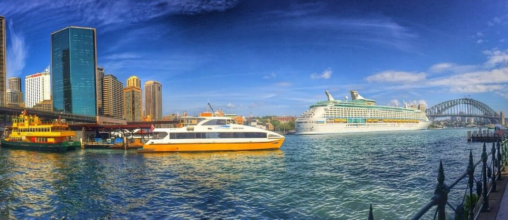 Cruise ship and ferry in Sydney Harbour