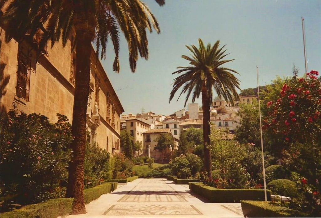Gardens at the Royal Hospital, Albaicin, Granada, Spain