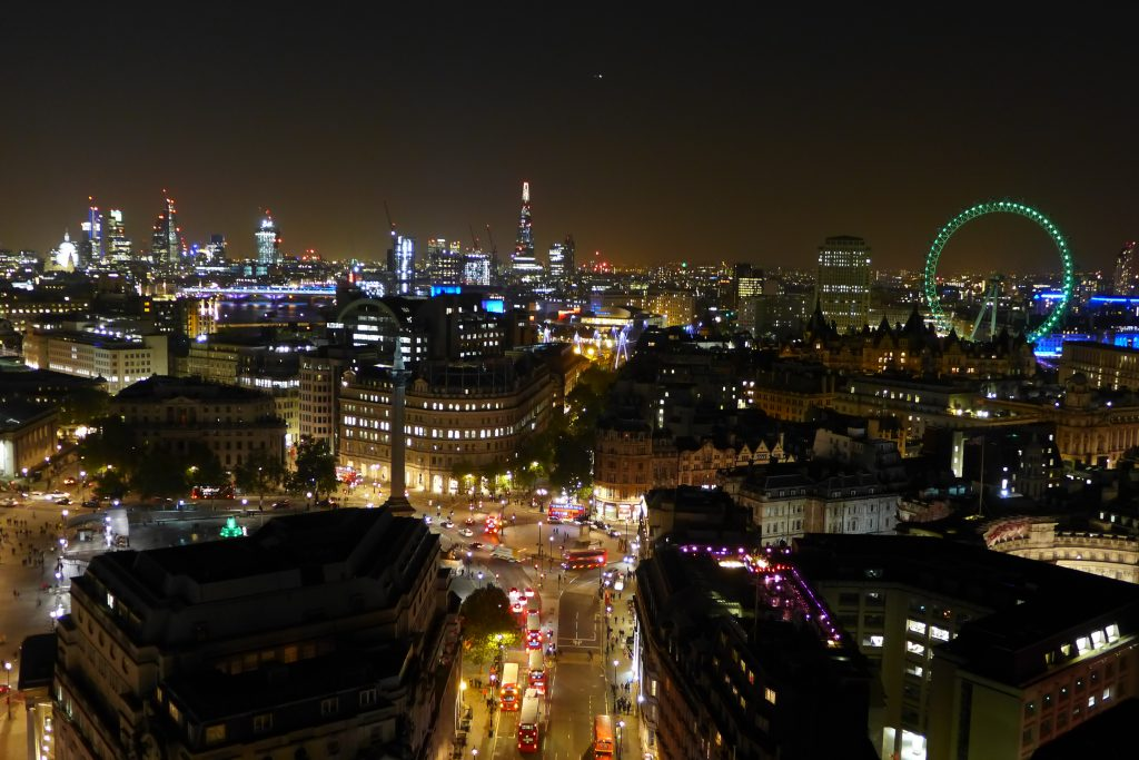 Night view from the top of New Zealand House London