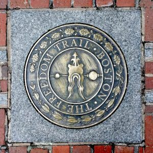 Boston Freedom Trail plaque on the path