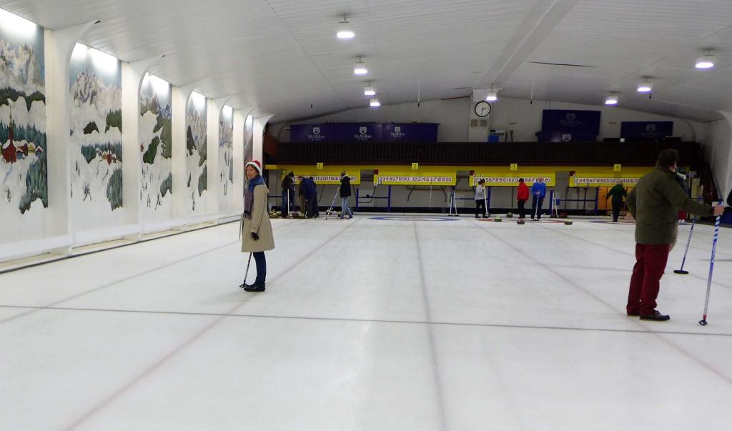 Curling at Stranraer ice rink Scotland