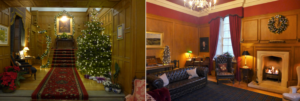 Glenapp Castle entrance hall and library - perfect location for a Hogmanay break at a Scottish castle