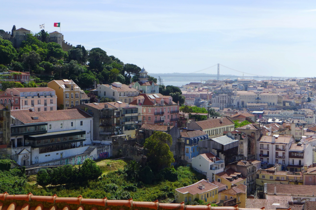 Lisbon from Bairro Alto. Lisbon is a great location for a language learning holiday.