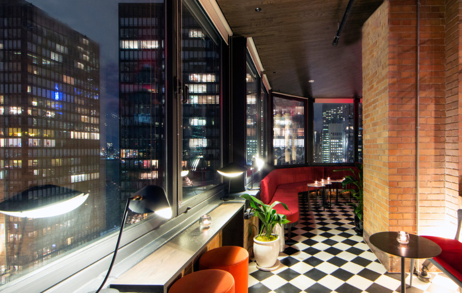 View from the rooftop restaurant bar at the Beekman Tower New York