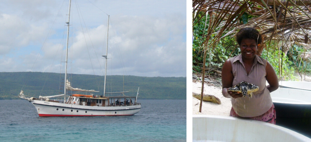 The Coongoola ketch and the turtle sanctuary in Vanuatu