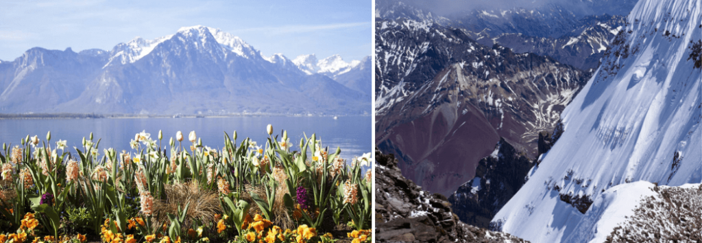 The Alps near Geneva and the Andes - breathtaking travel moments