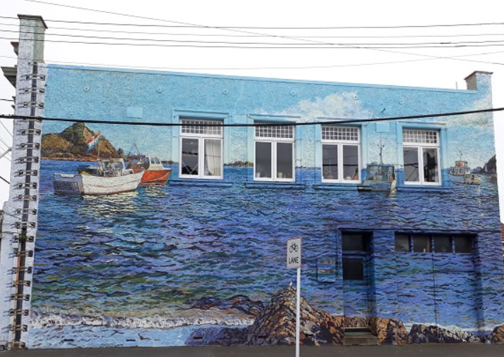 Mural on the wall of Michael McCormack's studio in Island Bay - an example of street art in eastern Wellington
