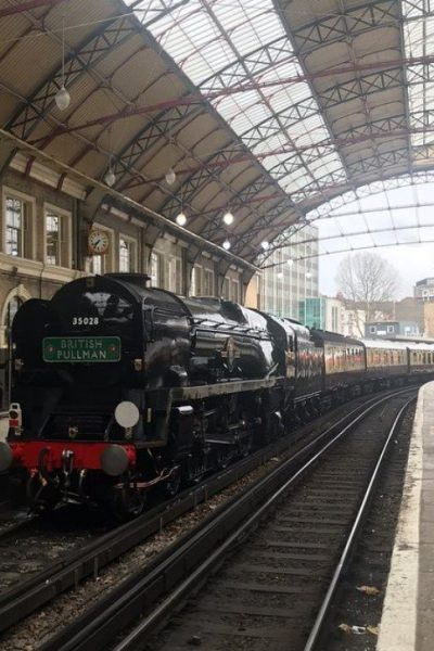British Pullman at Victoria Station, London, pulled by steam engine