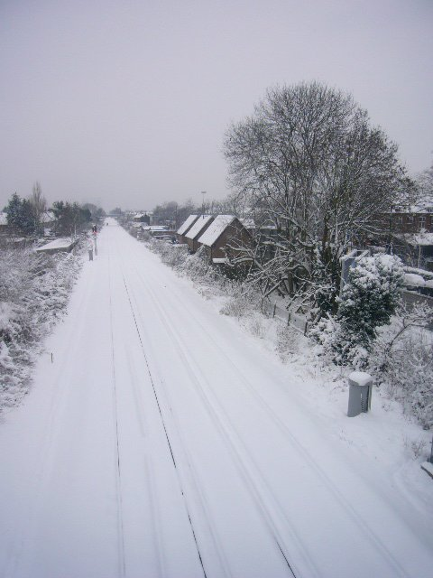 Train line covered in snow
