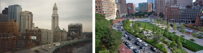 Boston before and after The Big Dig