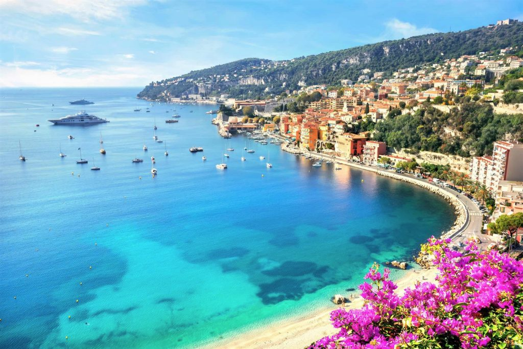 Looking down on the beach at Villefranche sur mer from high above the town