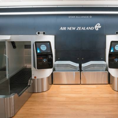 Automated bag drop machines at Auckland airport New Zealand