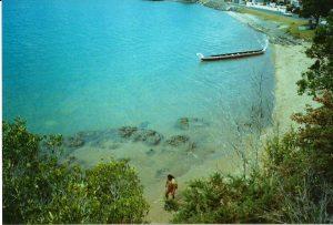 Beach and waka near Waitangi