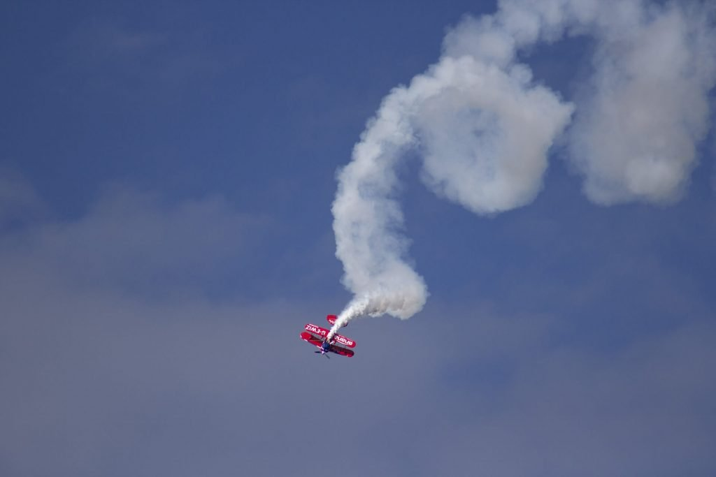 Aerobatic plane doing a tailspin. This is how complicated airport technology can make you feel!