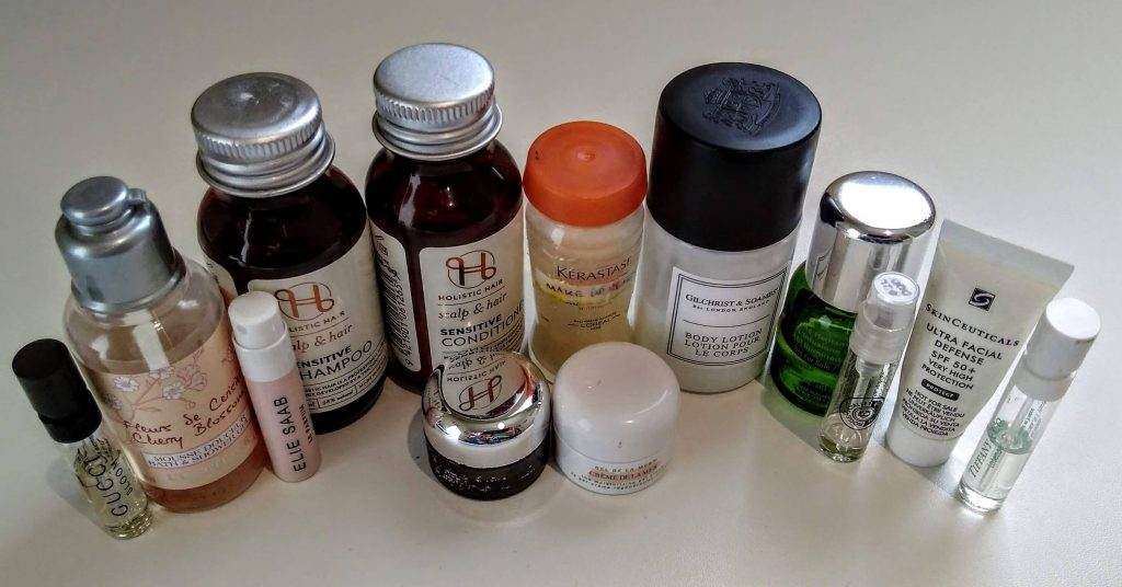 DIY travel amenity pack of hotel toiletries - using empty bottles and re-filling them with my own product