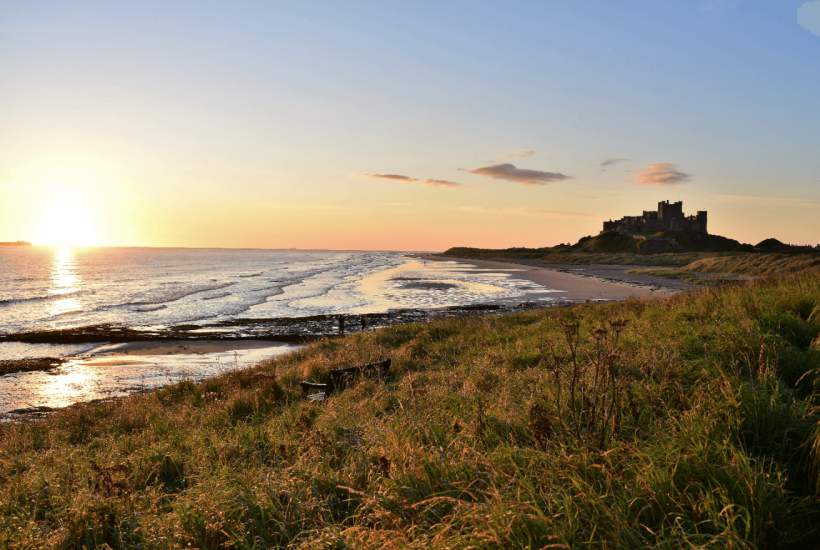 Bamburgh Castle by the Northumberland coast UK