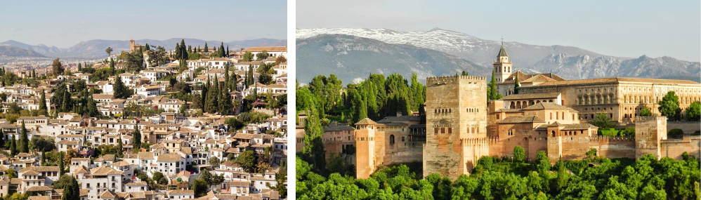 The Albaicin neighbourhood of Granada and the Alhambra. You can do language learning holidays in Granada.