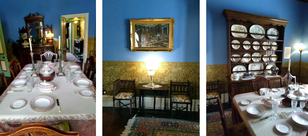 Dining room and drawing room at Katherine Mansfield's house
