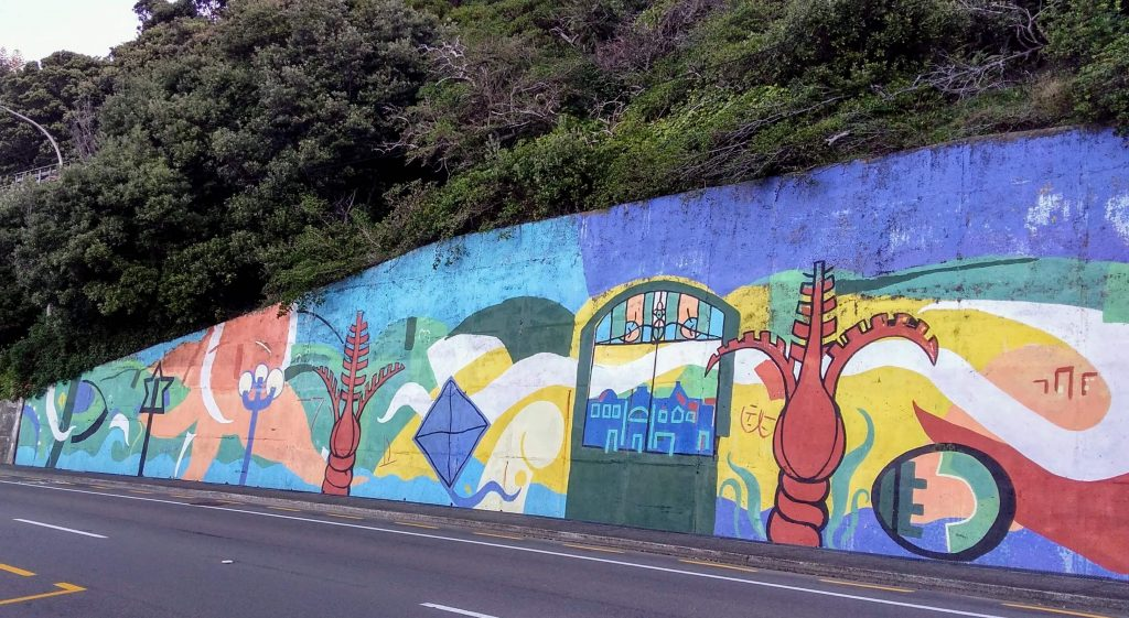Mural at Balaena Bay Wellington - an example of street art in eastern Wellington