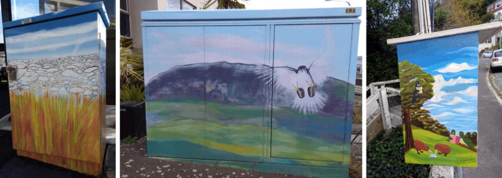 Examples of street art in Eastern Wellington