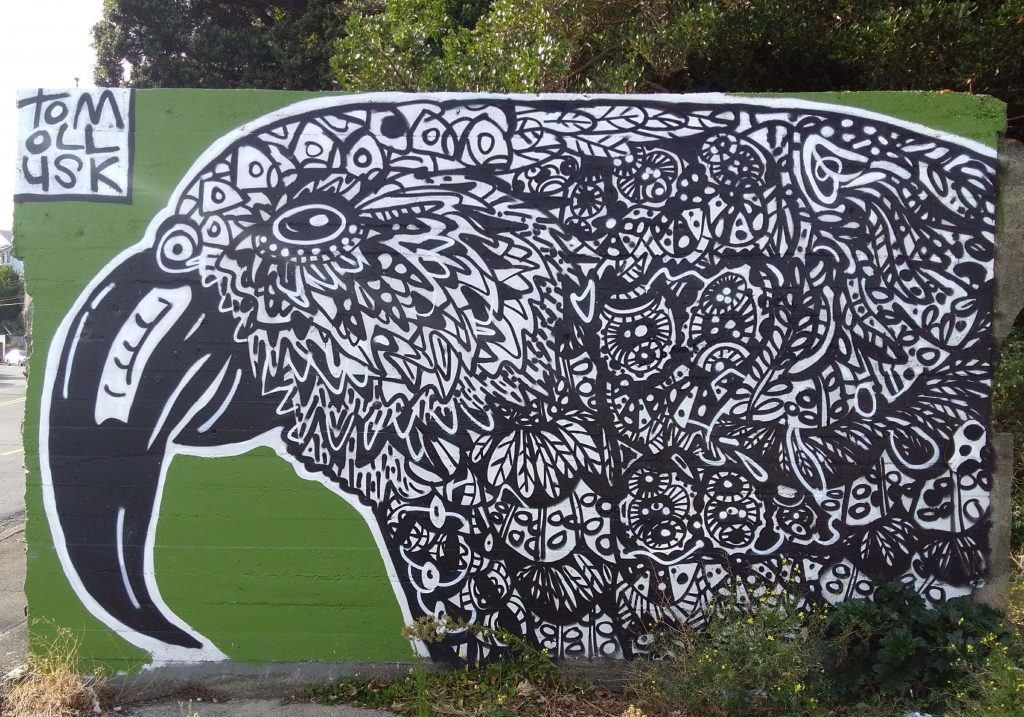 Mural of a parrot in Wellington