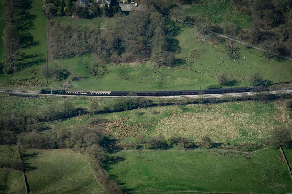The Flying Scotsman steam train on the Keighley and Worth Valley Railway