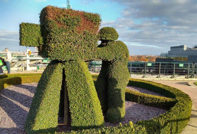 Wimbledon Tennis media suite - hedge shaped like a cameraman