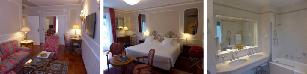 Lounge, bedroom and bathroom at the Grand Hotel Miramare suite, Italy - the perfect accommodation for a honeymoon in Liguria