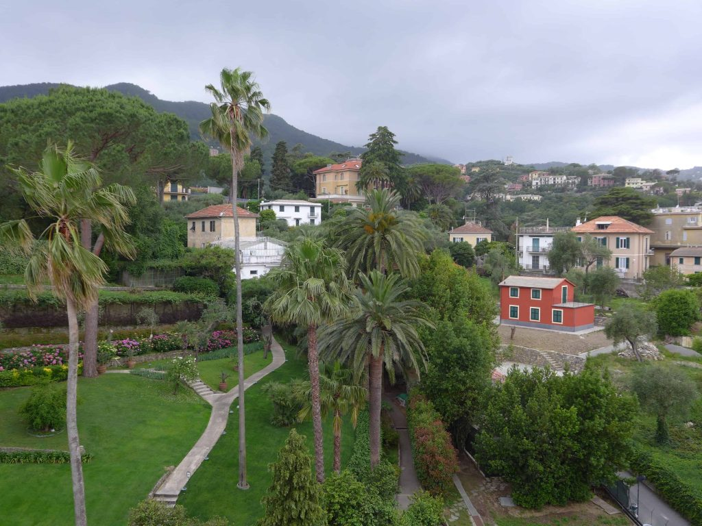 Threatening skies over the gardens at the Grand Hotel Miramare, Santa Margherita, Italy