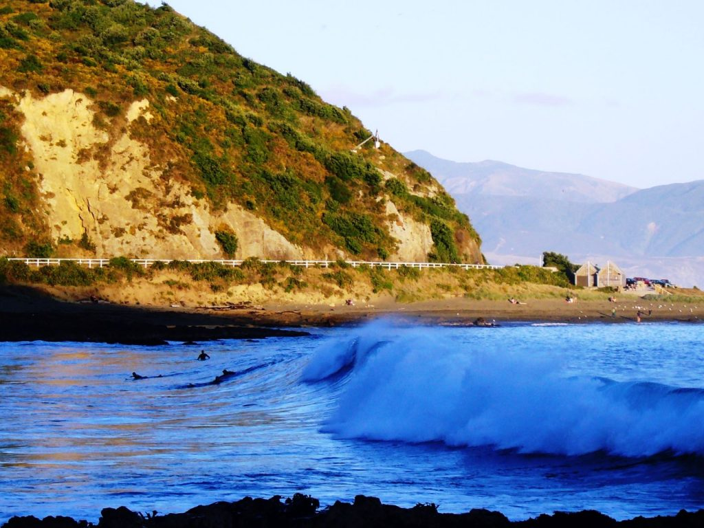 A surf wave at Houghton Bay, one of the popular surf beaches in Wellington
