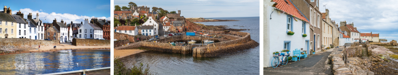 The villages of Anstruther, Crail and Pittenweem in Fife