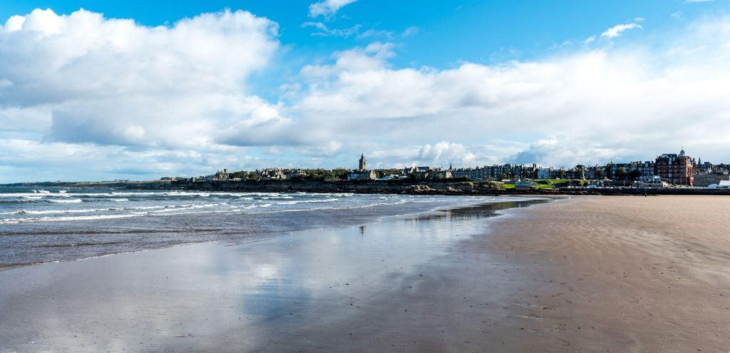 The West Sands beach at St Andrews Scotland