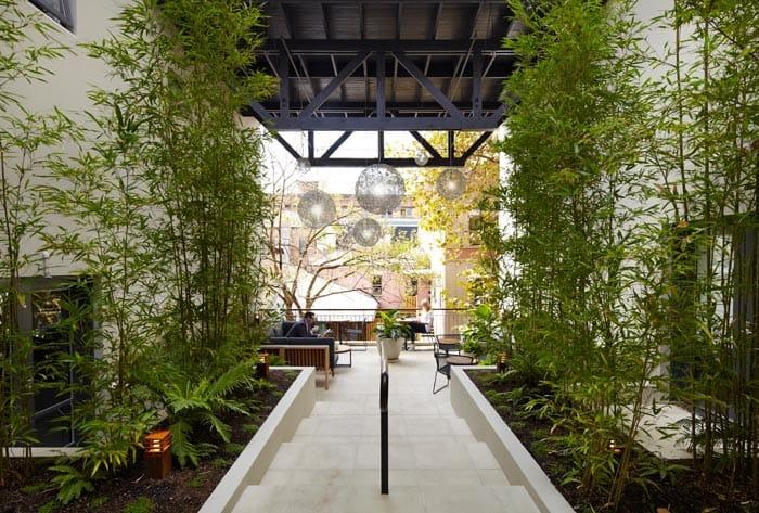 Garden terrace at the Harbour Rocks hotel Sydney