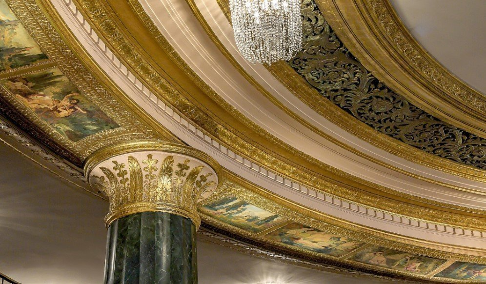 Ornate ceiling in the Grand Ballroom of the Intercontinental Hotel Chicago