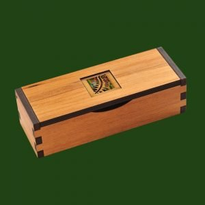 Hinged wooden gift box with fern leaf inlay pattern