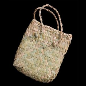 Traditional woven Maori style kete or basket, used for presentation of gift jewellery