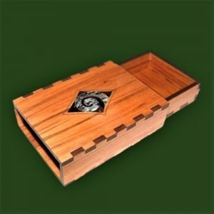 Koru slider gift box - wooden box featuring a Maori style inlaid koru or fern frond motif