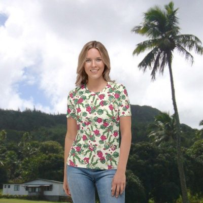 Womens tropical print T shirt front