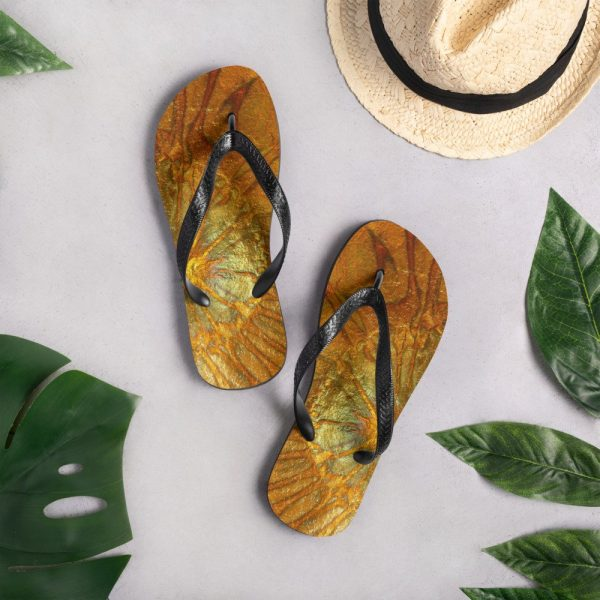 Sunshine gold flip flops