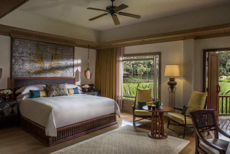 Bedroom in eco luxury lodge