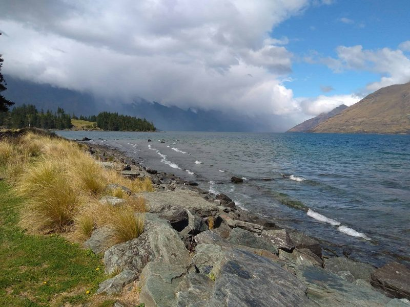 Queenstown gardens by Lake Wakatipu after a rain shower