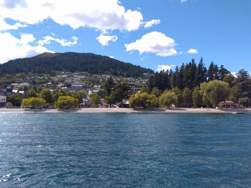 A view of Queenstown from Lake Wakatipu. Taking a boat trip on the lake is one of many activities in Queenstown for visitors
