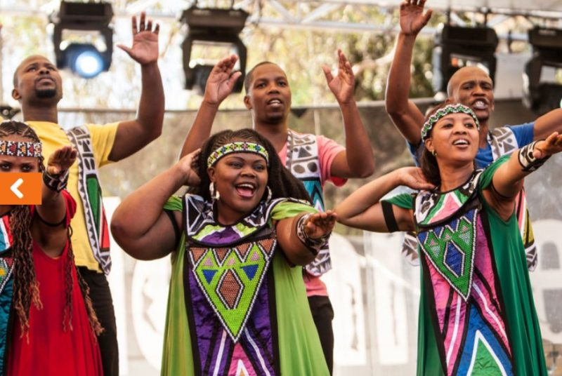 Members of the Soweto Gospel Choir performing live