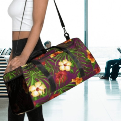 Duffle bag with tropical hibiscus print