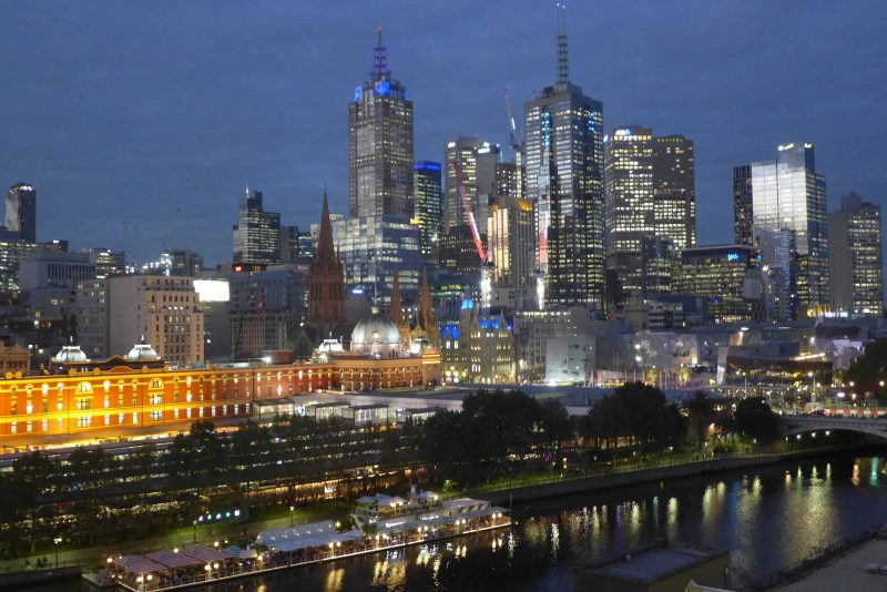 The river Yarra, Chiffley Street station and Melbourne CBD at twighlight