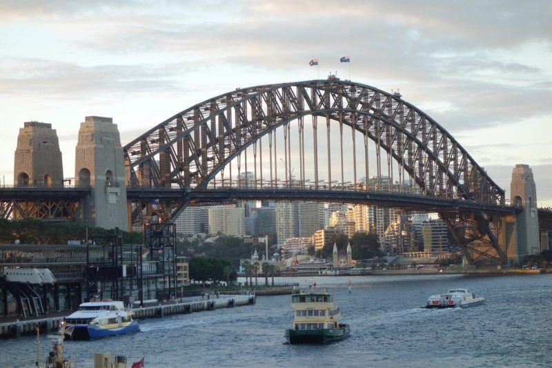 Sydney Harbour Bridge with ferry in foreground
