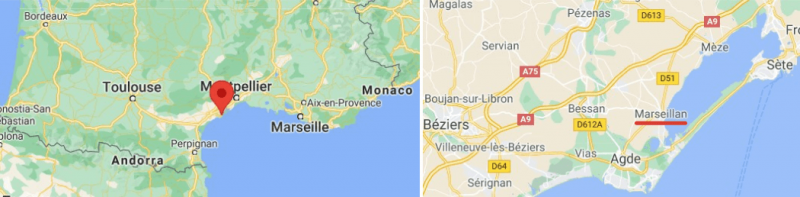 Map exerpts showing the location of Marseillan in south west France