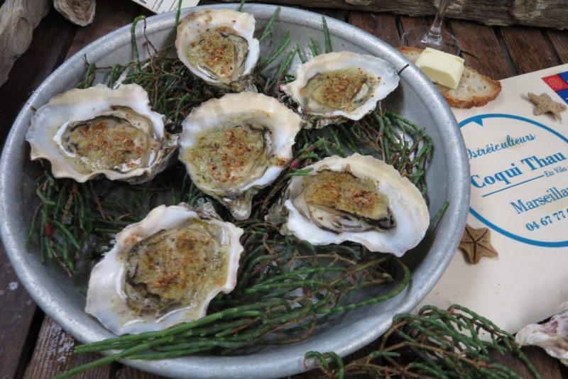 Oysters served at Coqui Thau, Marseillan, France